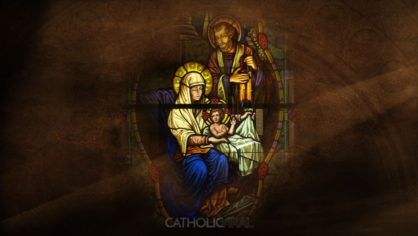 17 Stunning Stained-Glass Windows of the Nativity - HD Christmas Wallpapers - The Holy Family at Birth of Christ