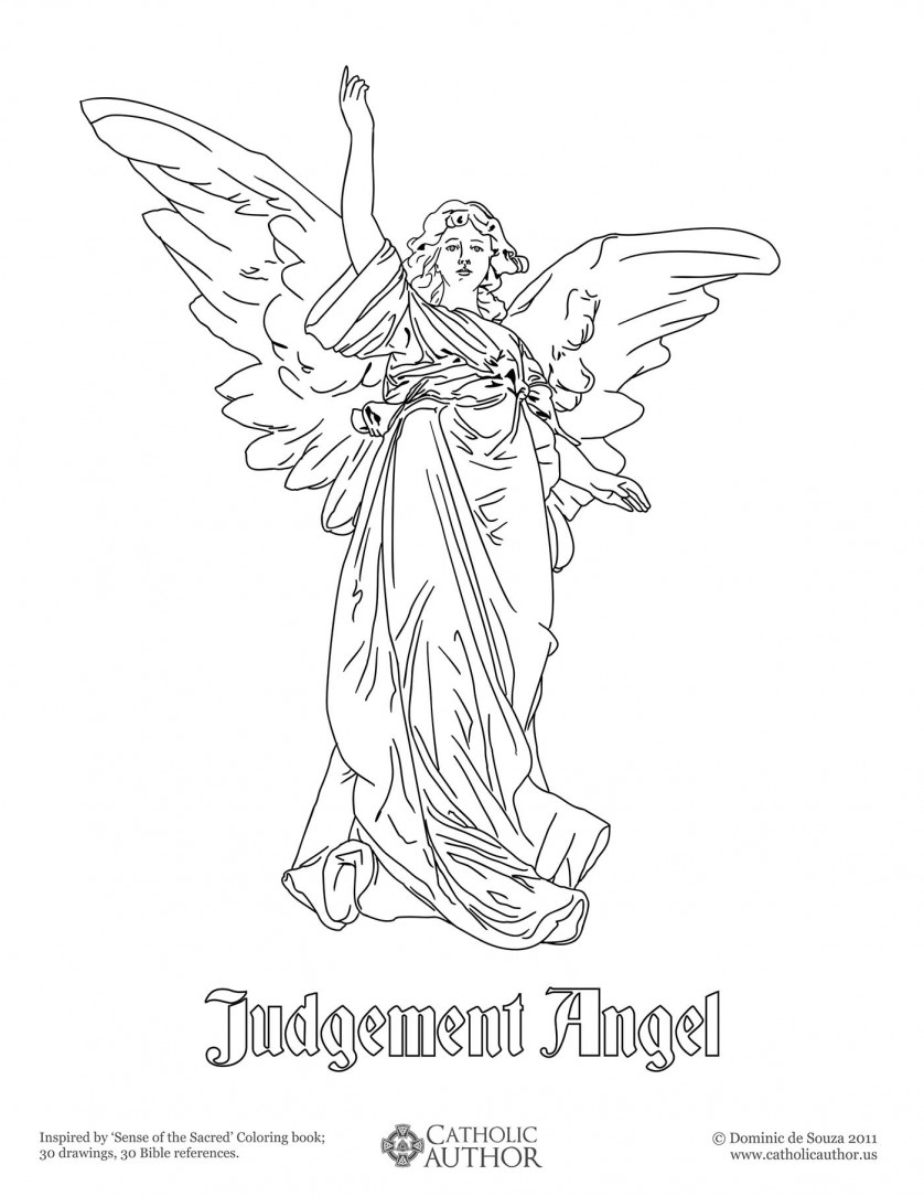 Judgment Angel - 12 Free Hand-Drawn Catholic Coloring Pictures