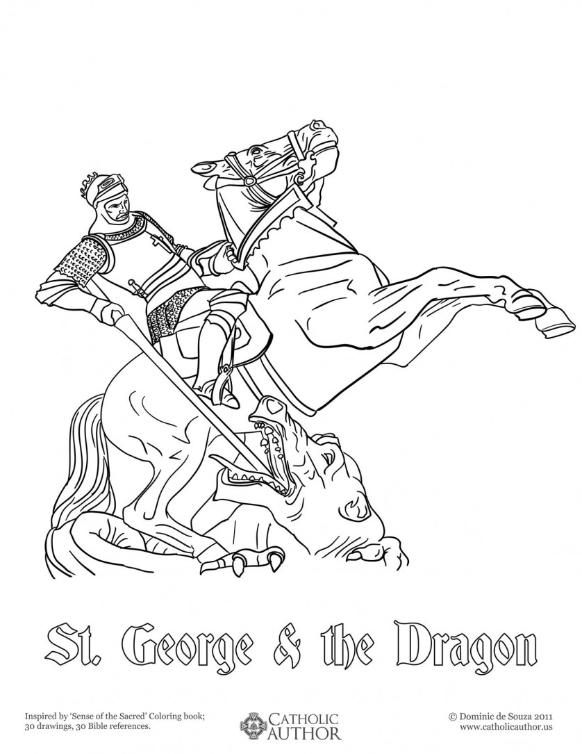 St George & the Dragon - 12 Free Hand-Drawn Catholic Coloring Pictures