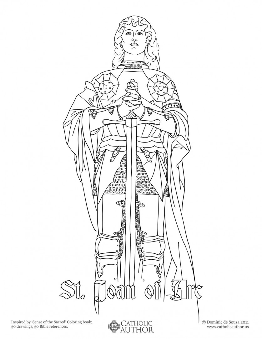 St Joan of Arc - 12 Free Hand-Drawn Catholic Coloring Pictures