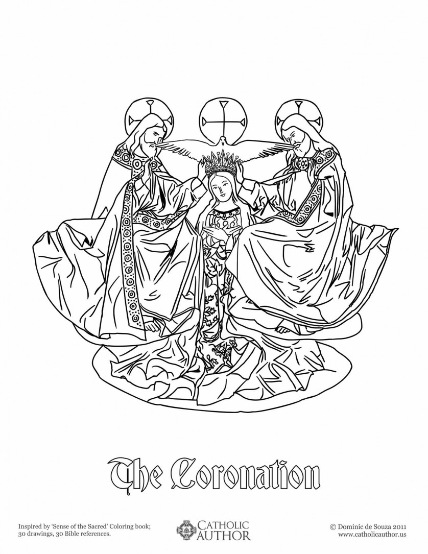 The Coronation - 12 Free Hand-Drawn Catholic Coloring Pictures