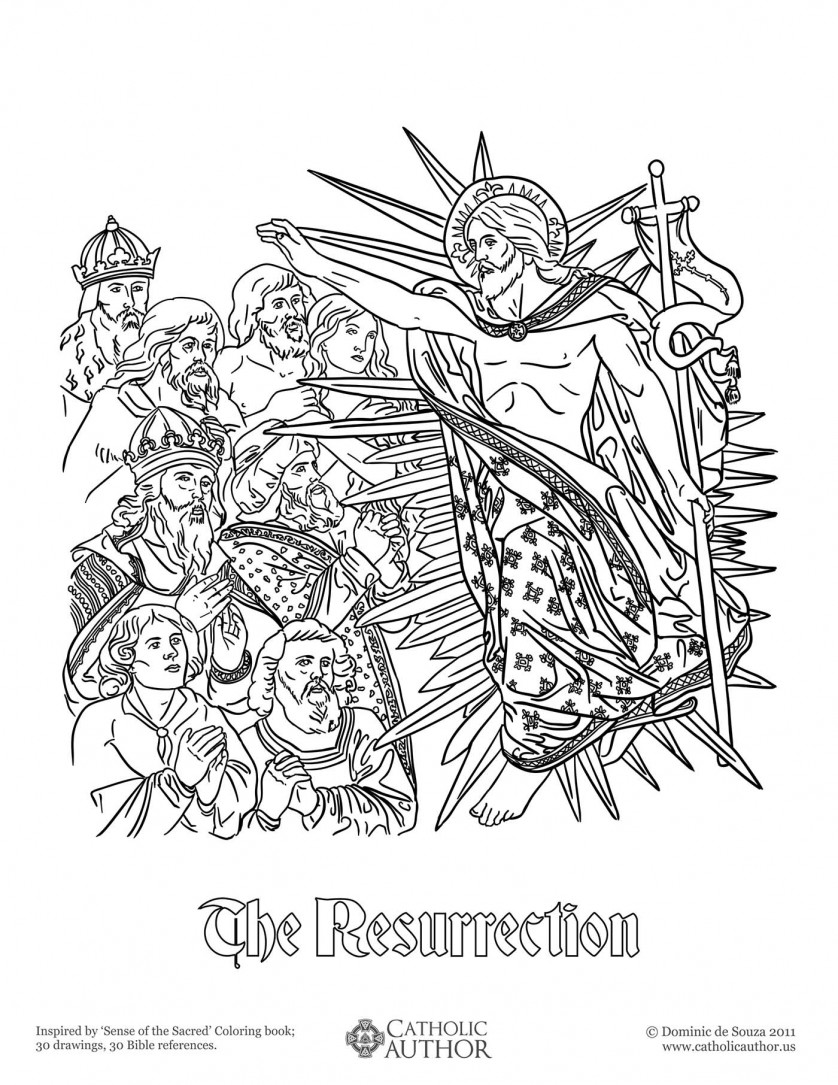 The Resurrection - 12 Free Hand-Drawn Catholic Coloring Pictures