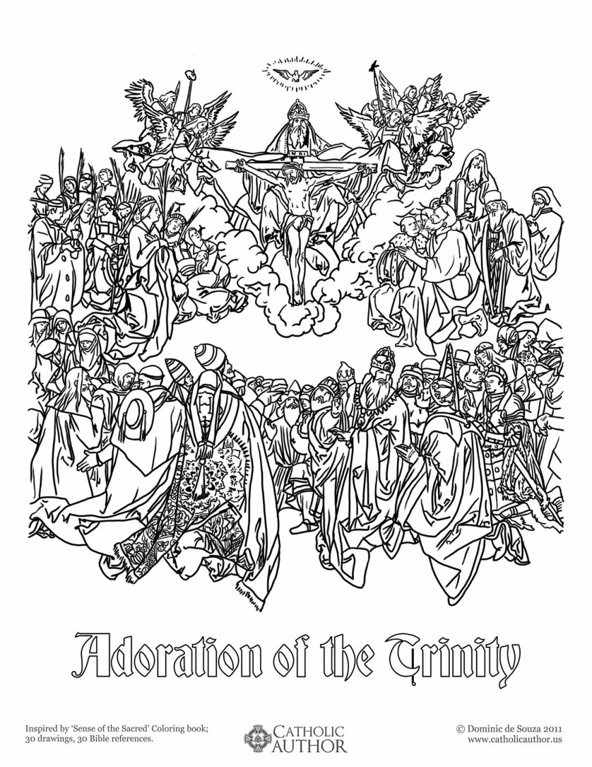 Adoration of the Trinity - - 12 Free Hand-Drawn Catholic Coloring Pictures