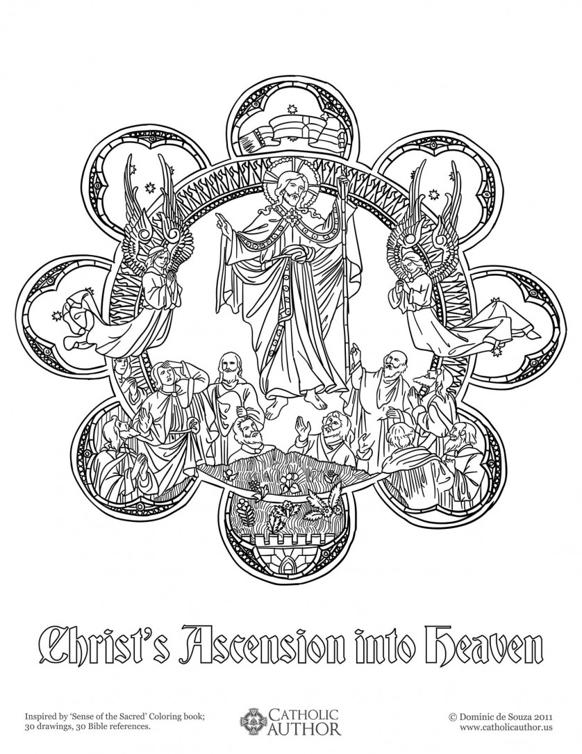 Christ's Ascension into Heaven - 12 Free Hand-Drawn Catholic Coloring Pictures