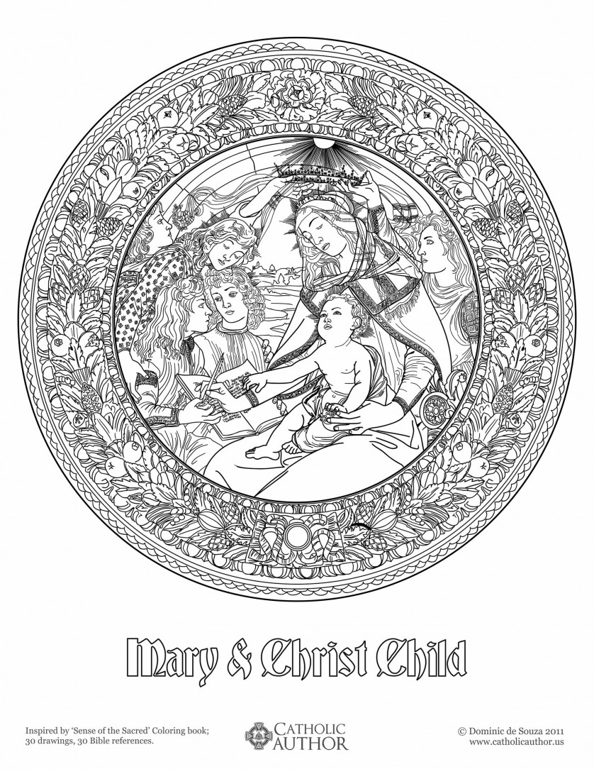 Mary & Christ Child - 12 Free Hand-Drawn Catholic Coloring Pictures