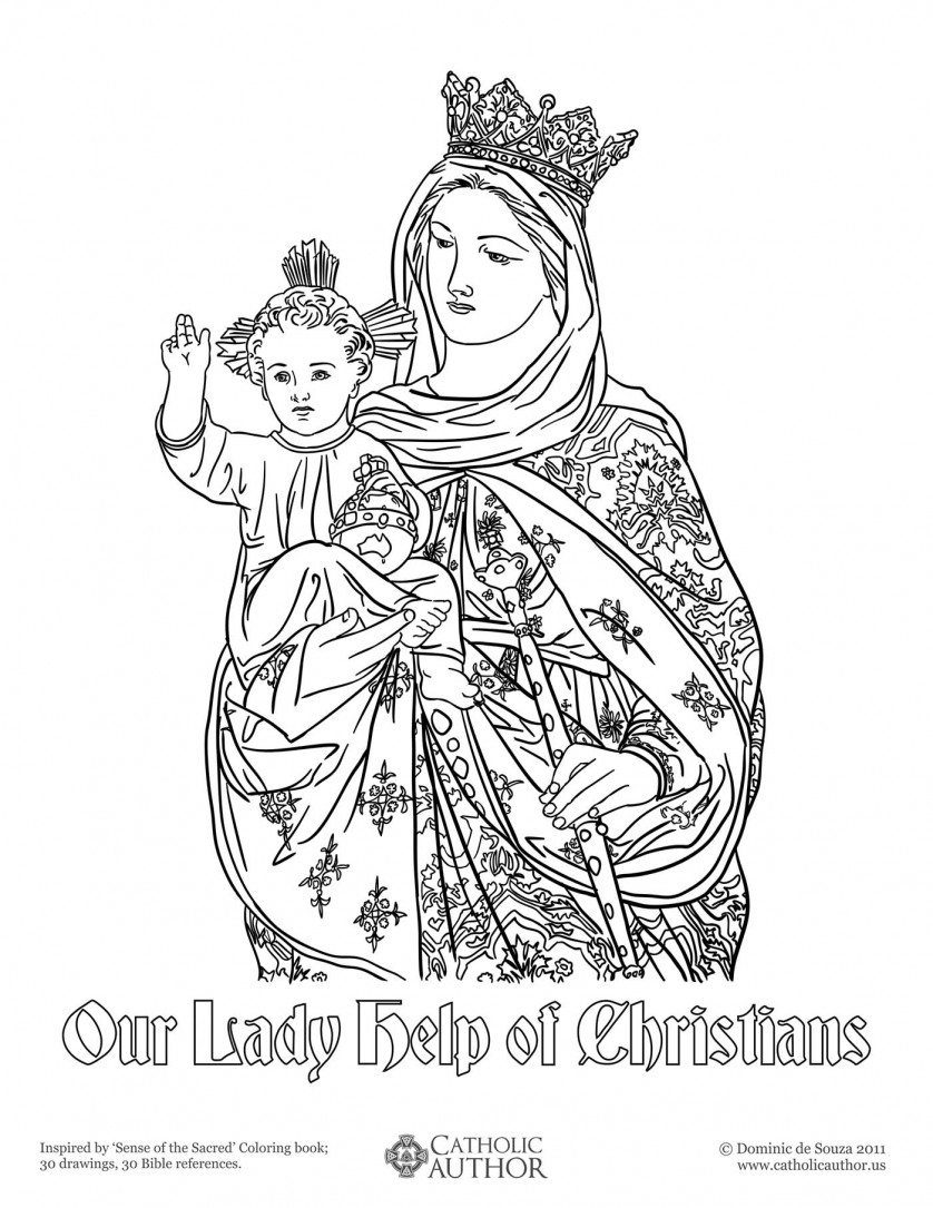 Our Lady Help of Christians - 12 Free Hand-Drawn Catholic Coloring Pictures