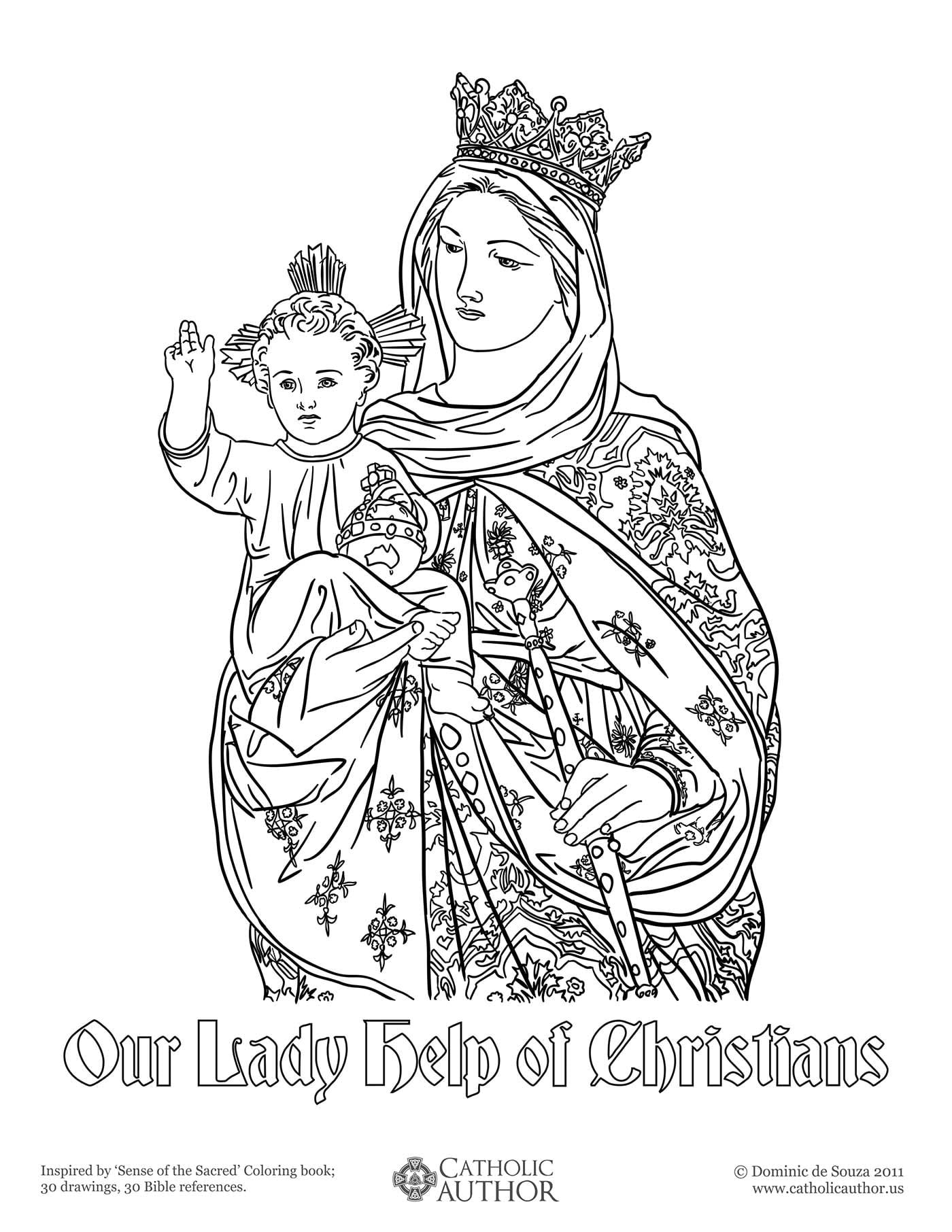 Our Lady Help of Christians Coloring Picture