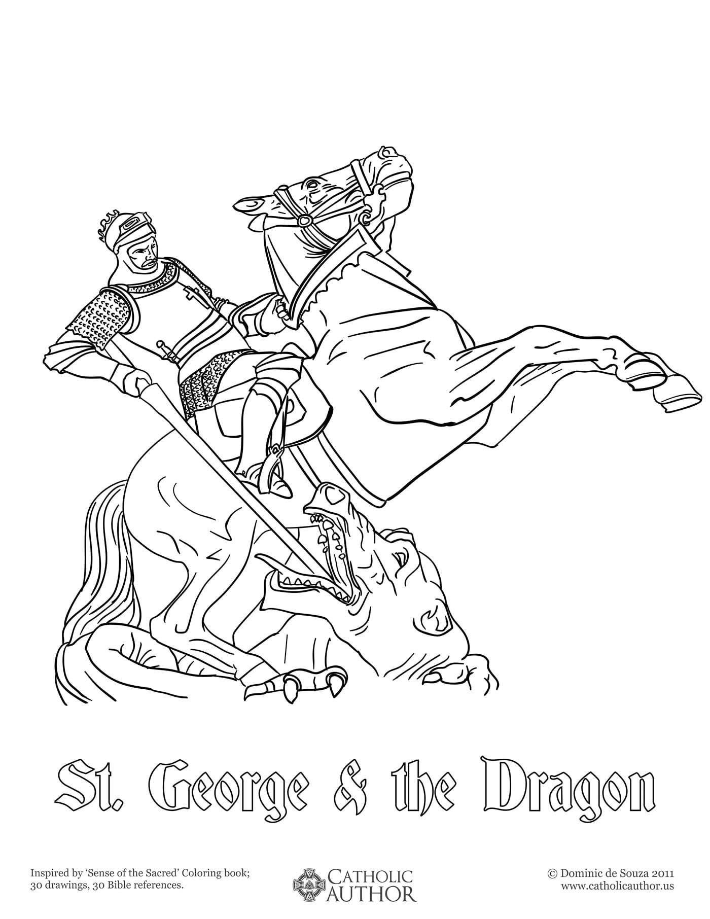 st george the dragon 12 free hand drawn catholic coloring pictures