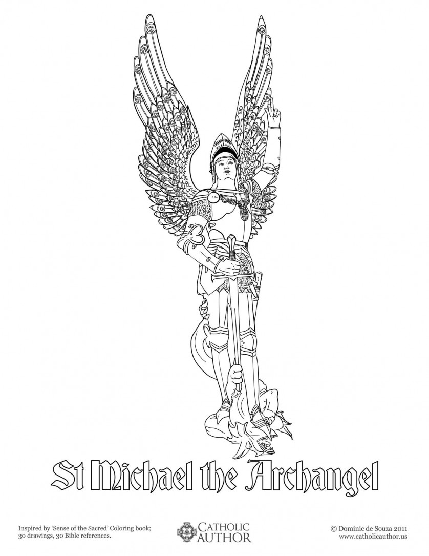 St Michael the Archangel Coloring Picture 838x1085