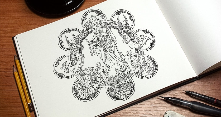 12 Free Hand-Drawn Catholic Coloring Pictures