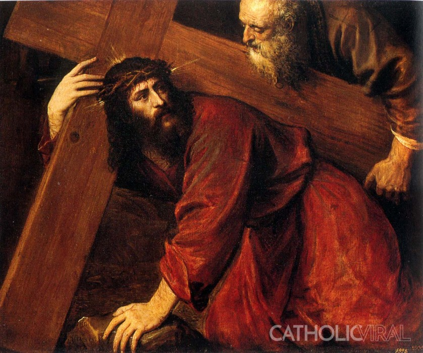 The Fall under the Cross - Titian - 54 Paintings of the Passion, Death and Resurrection of Jesus Christ